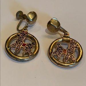Vintage guilloche poodle enamel drop earrings